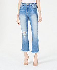 Flying Monkey Distressed Cropped Flare Jeans