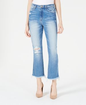 FLYING MONKEY Distressed Cropped Flare Jeans in Milano