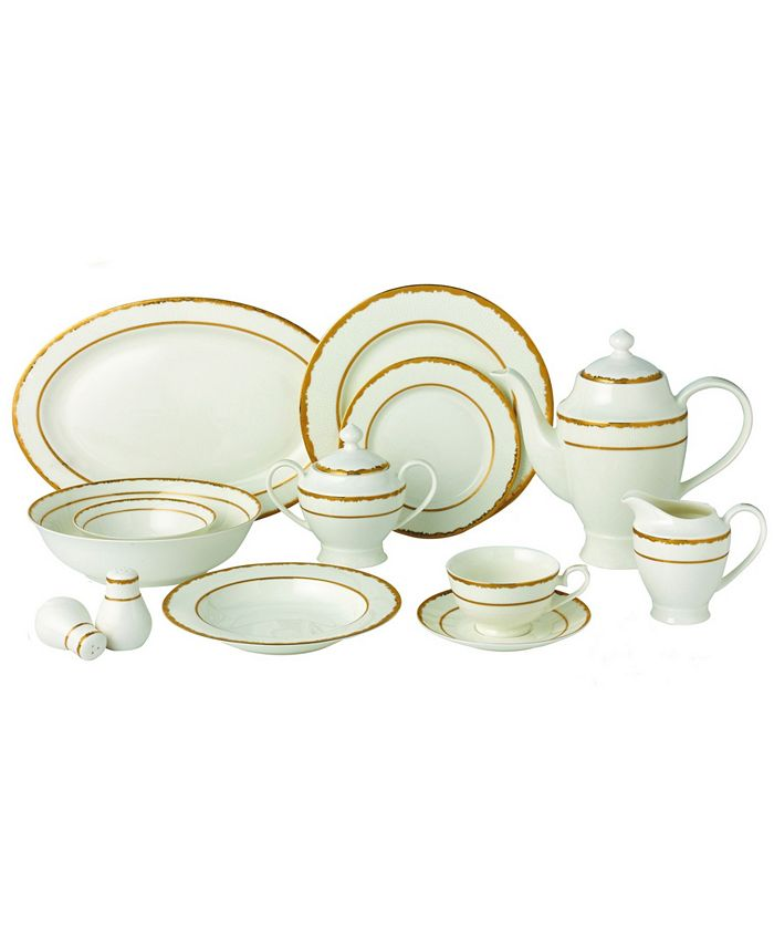 Lorren Home Trends - 57 Piece Dinnerware Set-New Bone China Service for 8 People-Sonia
