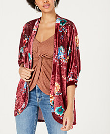 PROJECT 28 NYC Printed Crushed-Velvet Kimono
