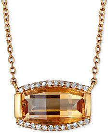"Citrine (3 ct. t.w.) & Diamond (1/8 ct. t.w.) 18"" Pendant Necklace in Gold-Plated Sterling Silver (Also in Rhodolite Garnet)"