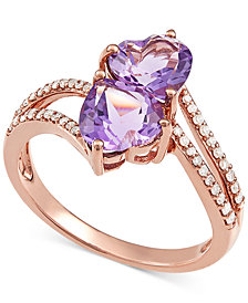 Amethyst (2-1/5 ct. t.w.) & Diamond (1/6 ct. t.w.) Double Heart Ring in 14k Rose Gold