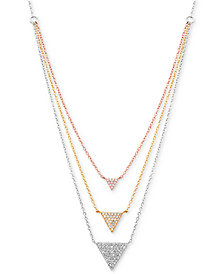 "Cubic Zirconia Pavé Triple Layer 18"" Pendant Necklace in Sterling Silver & Gold- and Silver-Plate"