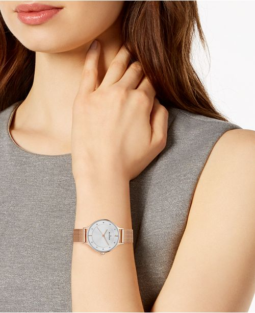 cd1cab2d9f2 ... Skagen Women s Anita Rose Gold-Tone Stainless Steel Mesh Bracelet Watch  30mm SKW2151 ...