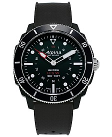 Alpina Men's Swiss Seastrong Horological Black Rubber Strap Hybrid Smart Watch 45.5mm