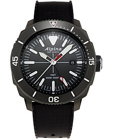 Men's Swiss Seastrong Diver Black Rubber Strap Watch 44mm