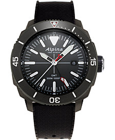 Alpina Men's Swiss Seastrong Diver Black Rubber Strap Watch 44mm