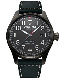 Men's Swiss Automatic Startimer Pilot Black Leather Strap Watch 44mm