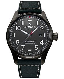 Alpina Men's Swiss Automatic Startimer Pilot Black Leather Strap Watch 44mm