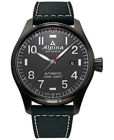 Alpina Men's Swiss Automatic Startimer Pilot Black Leather Strap Watch 44mm