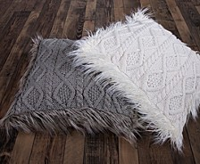 Nordic 18x18 Cable Knit Pillow with Mongolian Fur