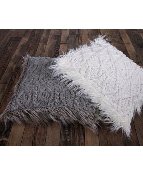 HiEnd Accents Nordic 18x18 Cable Knit Pillow with Mongolian Fur