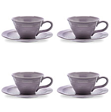 Portmeirion Sophie Conran Mulberry Teacup and  Saucer Set of 4