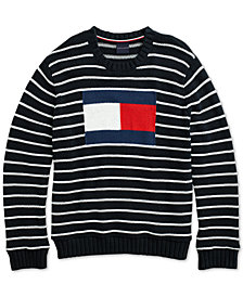 Tommy Hilfiger Adaptive Men's Flag Intarsia Sweater with Magnetic Closures