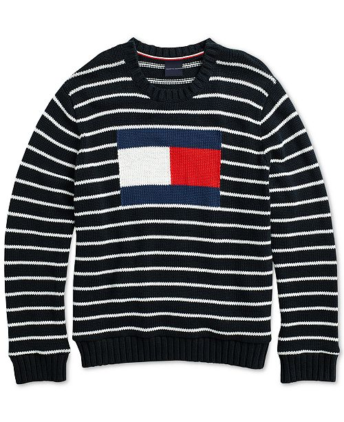 708430f16 Tommy Hilfiger Men s Flag Intarsia Sweater with Magnetic Closures ...