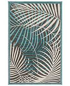 "Portera PRT-1062 Teal 3'9"" x 5'8"" Area Rug, Indoor/Outdoor"