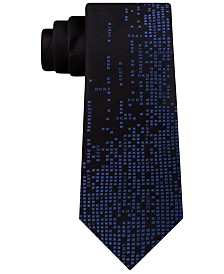DKNY Men's Geometric Logo Panel Slim Silk Tie