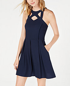 Speechless Juniors' Caged Crepe Dress