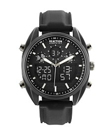 Kenneth Cole Reaction Men's Analog-Digital Black Silicone Strap Watch 45mm