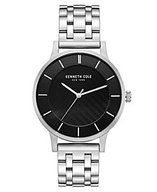 Kenneth Cole New York Men's Silver Bracelet Watch with Black Classic Dial, 44MM