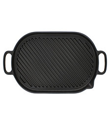 Chasseur French Oval Cast Iron Grill Pan, 18-inch
