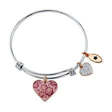 """Mom You Are Nothing Short of Amazing"" Pink Enamel Heart Crystal Bangle Bracelet in Stainless Steel Silver Plated Charms"