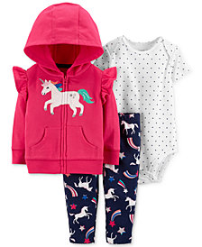 Carter's Baby Girls 3-Pc. Cotton Unicorn Hoodie, Bodysuit & Leggings Set