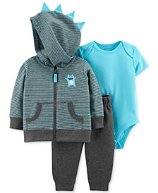 Carter's Baby Boys 3-Pc. Cotton Bodysuit, Hoodie & Pants Set