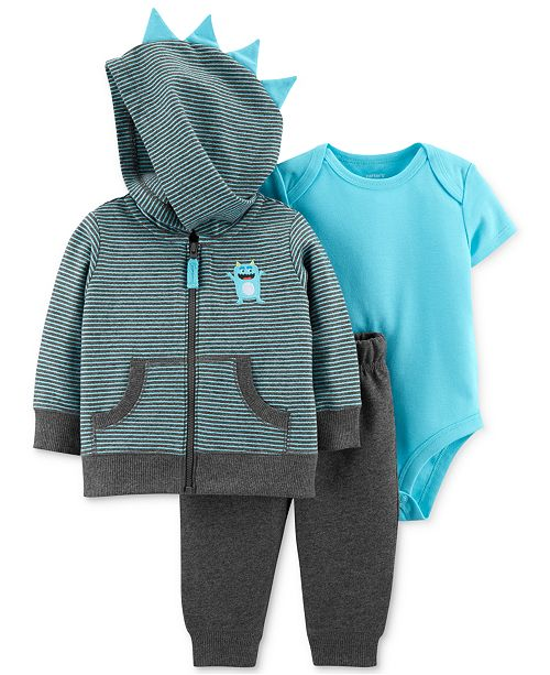 Carter's Baby Boys 3-Pc. Cotton Bodysuit, Hoodie & Pants Set