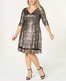 Robbie Bee Plus Size Metallic A-Line Dress