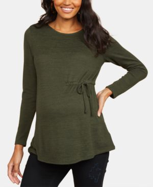 COLLECTIVE CONCEPTS Maternity Ruched Top in Forest Night