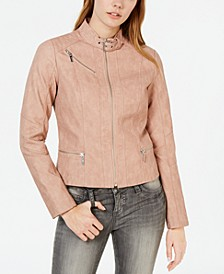 Juniors' Faux-Leather Buckle-Collar Moto Jacket