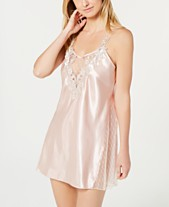 Flora by Flora Nikrooz Stella Charmeuse Embroidered-Neckline Chemise  Nightgown d36d43554