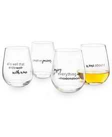 Words Stemless Wine Glasses, Set of 4, Created for Macy's