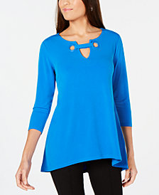 Alfani Grommet-Trim Keyhole Top, Created for Macy's