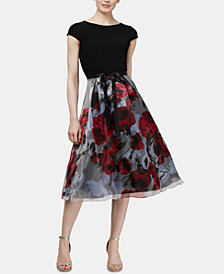 SL Fashions Floral Organza Ruched Dress