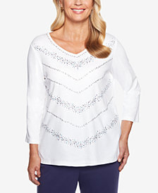 Alfred Dunner Comfortable Situations Embellished Chevron Top