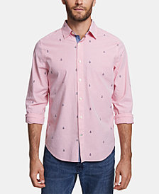 Nautica Men's Big and Tall Classic-Fit Performance Stretch Stripe Anchor-Print Shirt