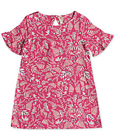 Roxy Little Girls Printed Ruffle-Sleeve Dress