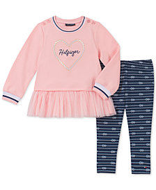 Tommy Hilfiger Little Girls 2-Pc. Peplum Logo Tunic & Leggings Set