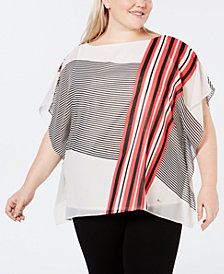 Anne Klein Plus Size Printed Poncho Top