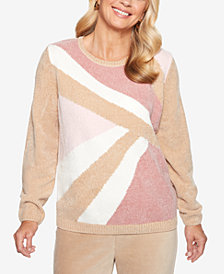 Alfred Dunner Home For The Holidays Colorblocked Chenille Sweater