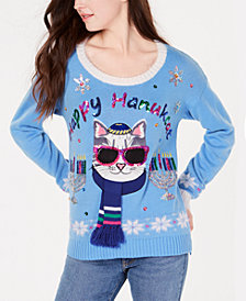 Hooked Up by IOT Juniors' Sequined Hanukat Sweater