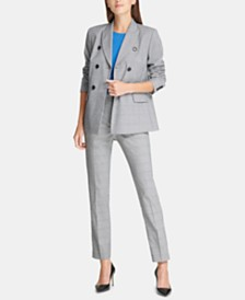 DKNY Double-Breasted Blazer, Side-Twist Top & Plaid Pants