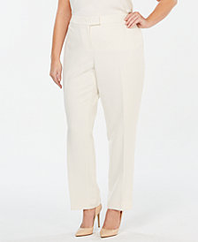 Anne Klein Plus Size Bowie Straight-Leg Pants