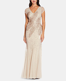 Adrianna Papell Beaded Pleated-Hem Gown