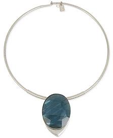 "Robert Lee Morris Soho Silver-Tone Oval Stone 16"" Pendant Necklace"