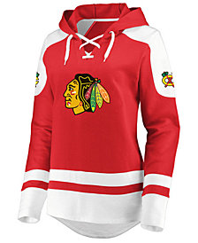 Majestic Women's Chicago Blackhawks Centre Lace up Crew Sweatshirt