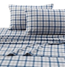 Tribeca Living 200-GSM Micro Plaid Printed Extra Deep Pocket Flannel Cal King Sheet Set
