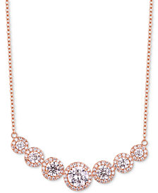 """Tiara Cubic Zirconia Multi-Stone Halo 18"""" Statement Necklace in Sterling Silver"""